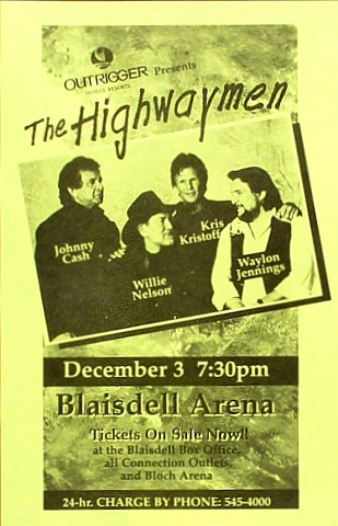 "The Highwaymen Handbill from Blaisdell Arena on 03 Dec 95: 5 1/2"" x 8 1/2"""