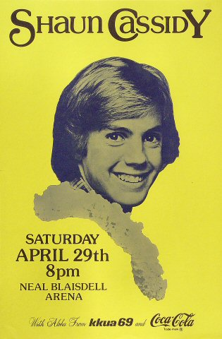 "Shaun Cassidy Poster from Blaisdell Arena on 29 Apr 78: 11 1/2"" x 17 1/2"""
