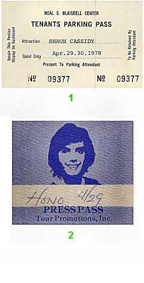 Shaun Cassidy Backstage Pass from Blaisdell Arena on 29 Apr 78: Pass 1