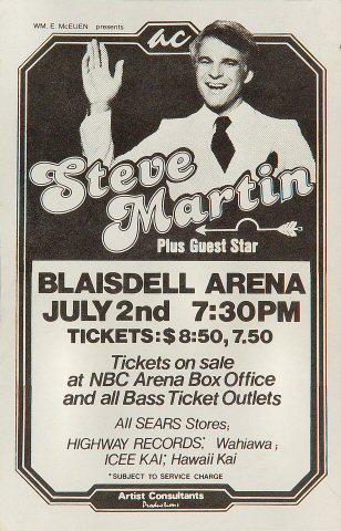 "Steve Martin Handbill from Blaisdell Arena on 02 Jul 78: 5 1/2"" x 8 1/2"""