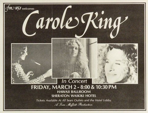 "Carole King Handbill from Sheraton Waikiki Hotel on 02 Mar 73: 10"" x 13"""