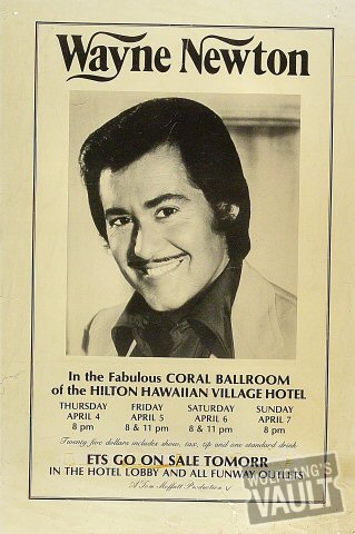 "Wayne Newton Poster from Hilton Hawaiian Village Hotel : 12"" x 17 7/8"""