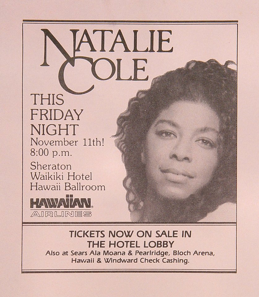 Natalie Cole Handbill  : 4 1/4&quot; x 5 1/2&quot;