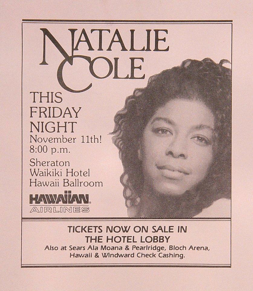 "Natalie Cole Handbill  : 4 1/4"" x 5 1/2"""