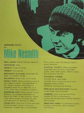 "Michael Nesmith Handbill  : 9"" x 12"""
