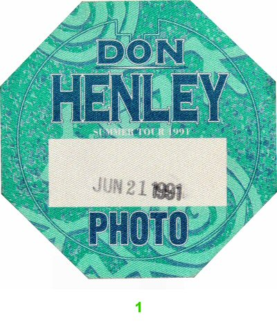 Don Henley Backstage Pass  on 21 Jun 91: Pass 1