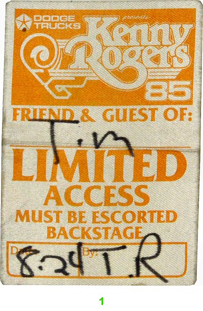 Kenny Rogers Backstage Pass  on 24 Aug 85: Pass 1