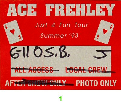 Ace Frehley Backstage Pass  on 11 Jun 93: Pass 1
