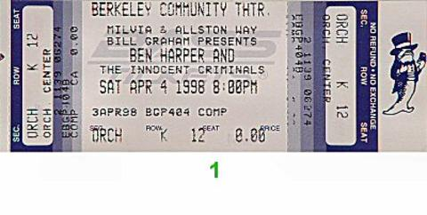Ben Harper & The Innocent Criminals Vintage Ticket
