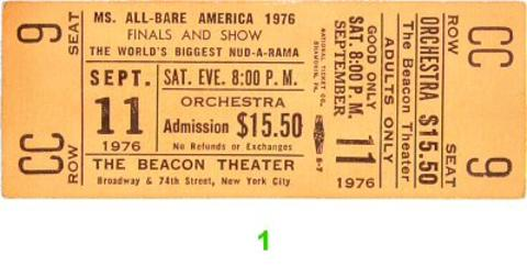 Ms. All-Bare America Vintage Ticket