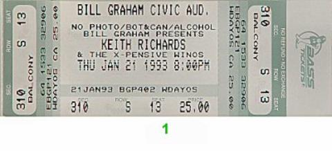 Keith Richards Vintage Ticket