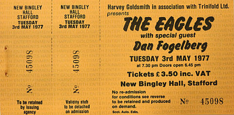 The Eagles Vintage Ticket
