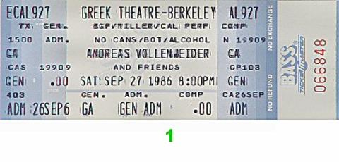 Andreas Vollenweider Vintage Ticket