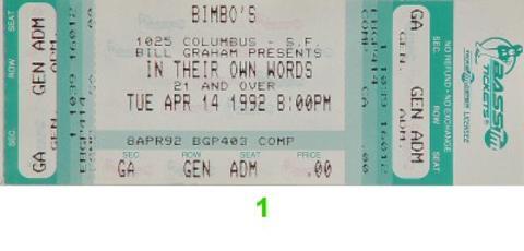 Midge Ure Vintage Ticket