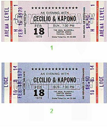 Cecilio and Kapono Vintage Ticket