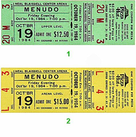 Menudo Vintage Ticket