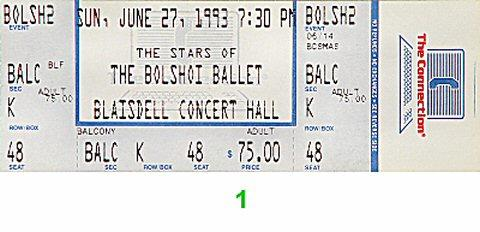 The Bolshoi Ballet Vintage Ticket