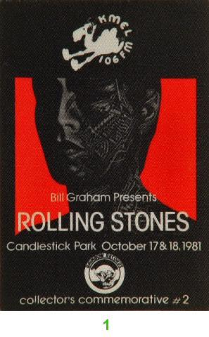 The Rolling Stones Backstage Pass from Oct 17, 1981