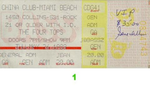 The Four Tops Vintage Ticket