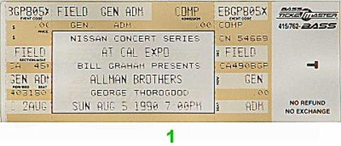 The Allman Brothers Band Vintage Ticket