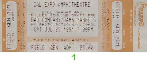 Bad Company Vintage Ticket