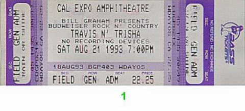 Travis Tritt Vintage Ticket