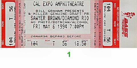 Sawyer Brown Vintage Ticket