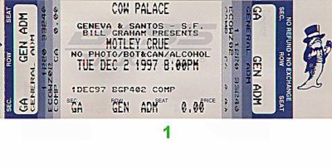 Motley CrueVintage Ticket