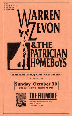 Warren Zevon & The Patrician Homeboys Handbill