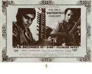 Ravi Shankar 1970s Ticket