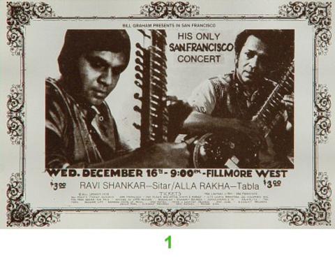 Ravi Shankar Vintage Ticket