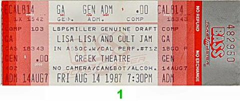 Lisa Lisa and the Cult Jam Vintage Ticket