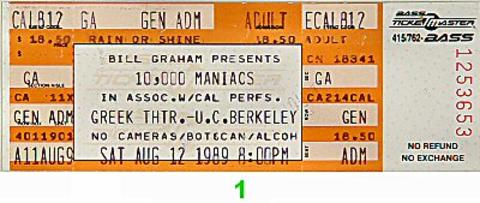 10,000 Maniacs Vintage Ticket