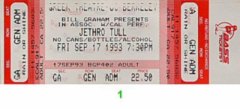 Jethro Tull Vintage Ticket