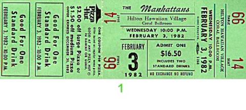 The Manhattans Vintage Ticket