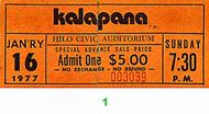 Kalapana 1970s Ticket
