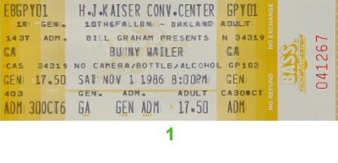 Bunny Wailer Vintage Ticket