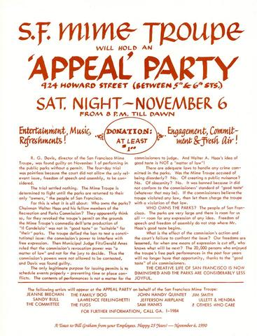 Benefit for SF Mime Troupe - Appeal I Handbill