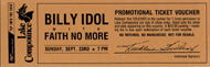 Billy Idol Vintage Ticket