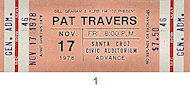 Pat Travers Vintage Ticket