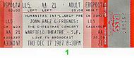 Joan Baez 1980s Ticket