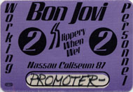 Bon Jovi Slippery When Wet 87 Backstage Pass