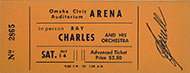 Ray Charles & His Orchestra Vintage Ticket