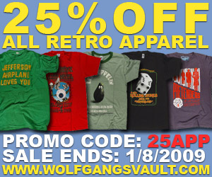 25% off Retro Apparel Coupon Valid Through 1.8.09