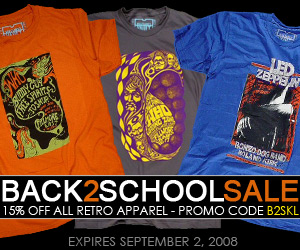 15% off Coupon - Retro Clothing for Men, Women, Boys and Girls at  Wolfgang's Vault - Big Back to School Sale Valid till 09.01.2008