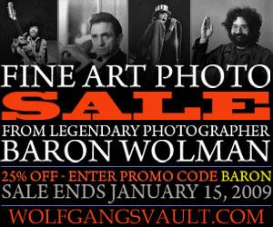 Fine Print Photo Sale - 25% off Baron Wolman Prints Coupon Exp. 1-15-09