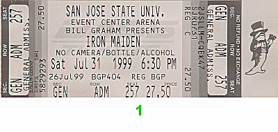 Iron Maiden 1990s Ticket