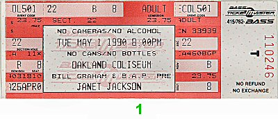 Janet Jackson 1990s Ticket