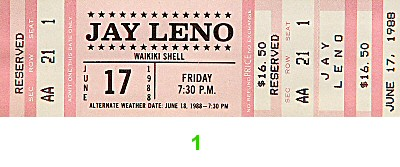 Jay Leno 1980s Ticket
