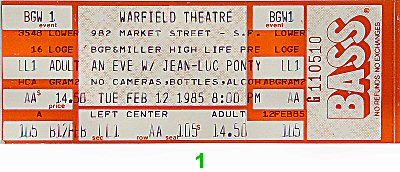 Jean-Luc Ponty 1980s Ticket